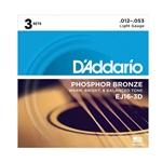 D'Addario EJ16 3 Pack Phosphor Bronze Acoustic Guitar Strings, Light, 12-53