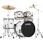 Tama Imperial Star 5-Piece Drum Set With Cymballs Sugar White W/ Black Nickel Rims