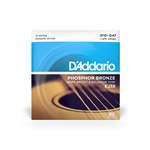 D'Addario 12 String Litght Phosphor Bronze Acoustic Strings .010-.047