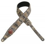"levy 2 1/2"" leather guitar strap with tiger stripe design"